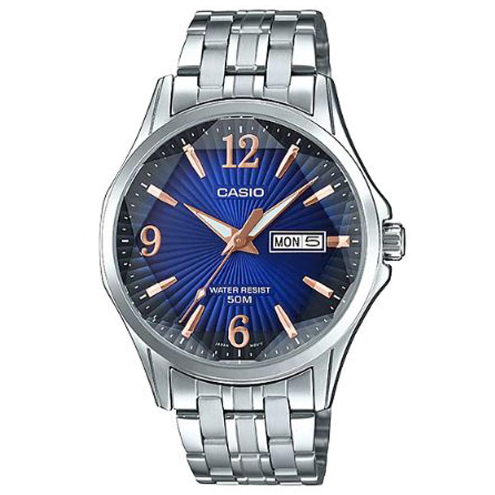 CASIO立體多面切割簡約風格不鏽鋼錶-藍面(MTP-E120DY-2A)/47.5mm
