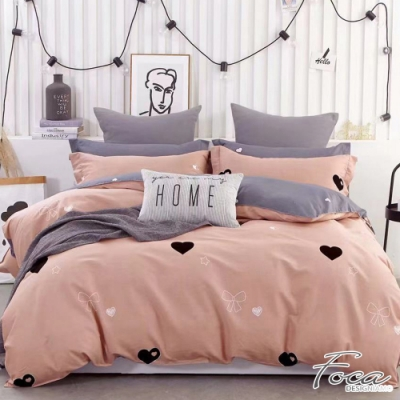 FOCA悸動的心 單人-韓風設計100%精梳純棉三件式兩用被床包組