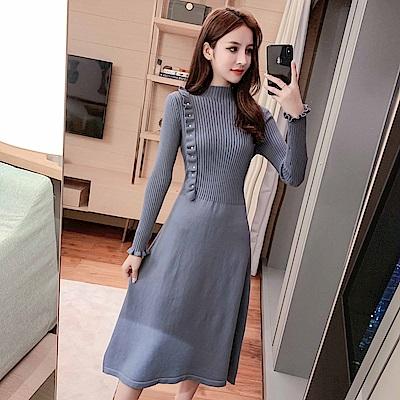 DABI 韓國風優雅單邊木耳針織修身小香風長袖洋裝