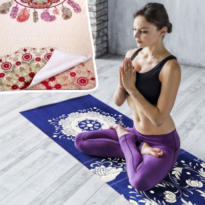 [時時樂限定]便攜防滑印花瑜珈墊舖巾(加贈收納零錢化妝包三件組)