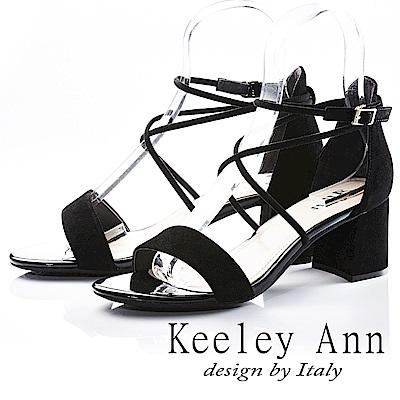 Keeley Ann 韓式風潮~交叉細帶素色真皮粗跟涼鞋(黑色-Ann)