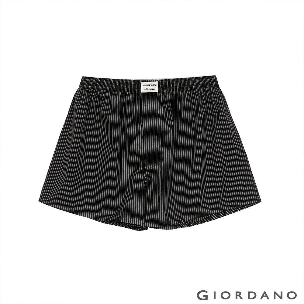 GIORDANO 男裝純棉平口四角褲 - 02 黑條紋
