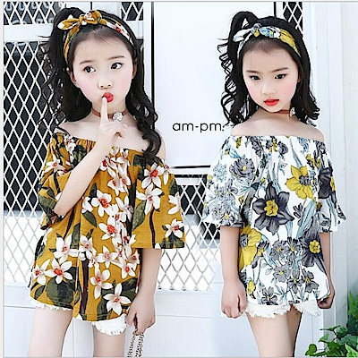 小衣衫童裝    中大童花朵一字領清新上衣搭同色髮帶1080225