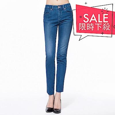 BRAPPERS 女款 新美腳Royal系列-女用中低腰彈性鬆緊帶八分褲-淺藍