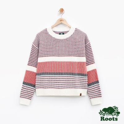 女裝Roots-針織色塊毛衣-白
