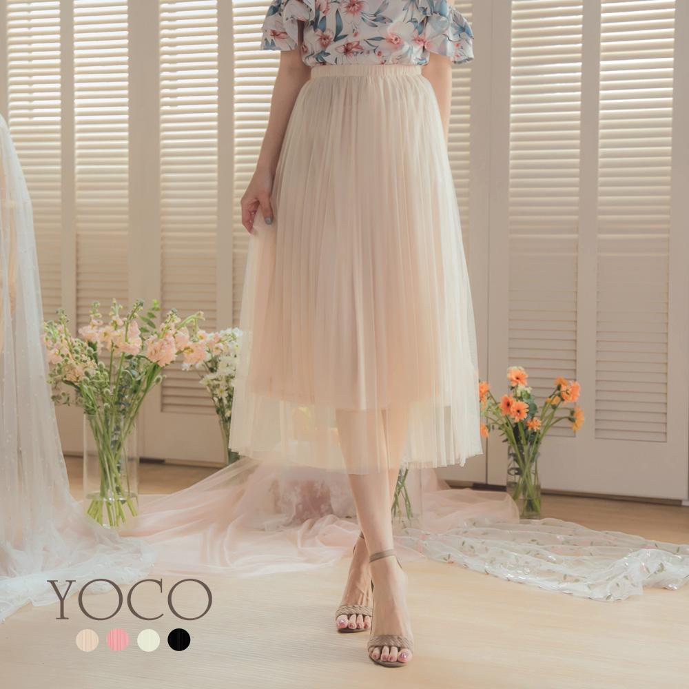 東京著衣-YOCO 浪漫優雅多色腰鬆緊飄逸紗裙-S.M.L-(共四色)