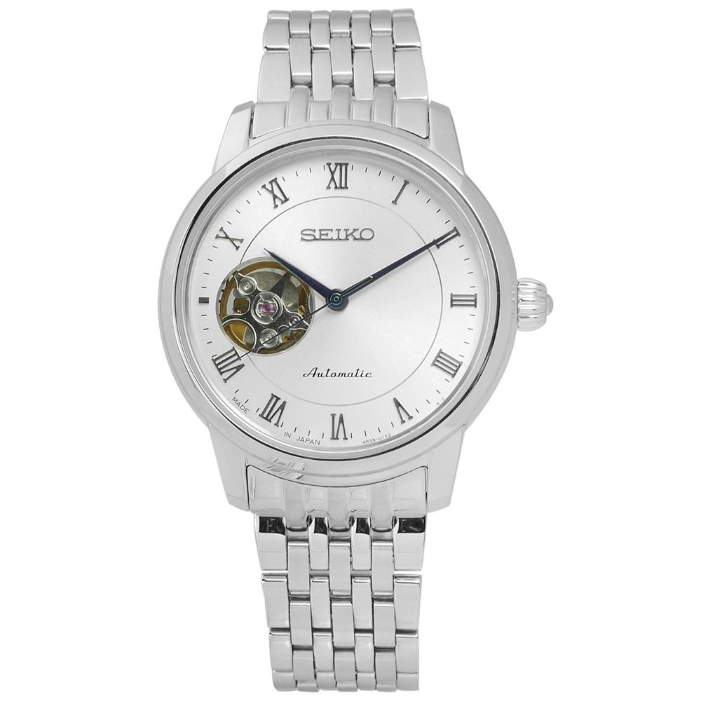 SEIKO 精工 PRESAGE 都會 不鏽鋼機械錶-銀/34mm
