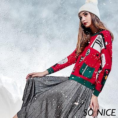 SO NICE俏麗耶誕印花針織上衣