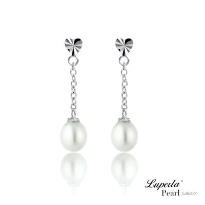 大東山珠寶 淡水珍珠愛心純銀垂鍊耳環