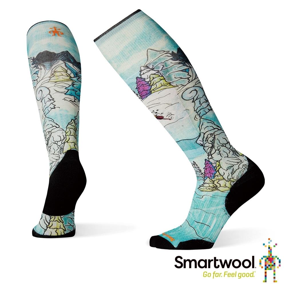 SmartWool PhD滑雪輕量菁英減震型PRINT高筒襪-Pow Days 彩色
