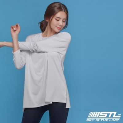 STL yoga Metro NY LS 韓國瑜珈 運動機能 地鐵 蓋臀長版寬鬆長袖上衣 灰濛白
