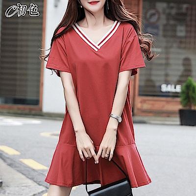 初色  V領滾邊連身裙-赤茶色-(M-2XL可選)