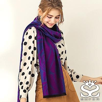 SOFER 凡爾賽玫瑰100%蠶絲圍巾 - 櫻桃紫