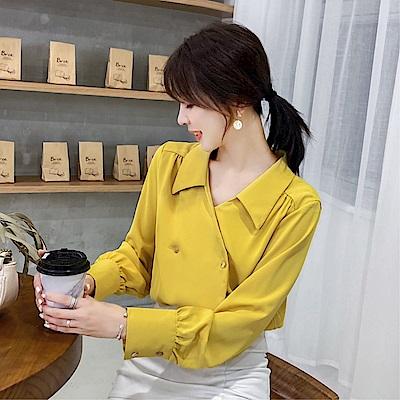 DABI 韓國風名媛優雅雪紡襯衫時尚襯衣長袖上衣