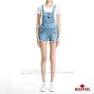 BRAPPERS 女款 BOY FRINEND系列-褲口不收邊彈性吊帶短褲-淺藍