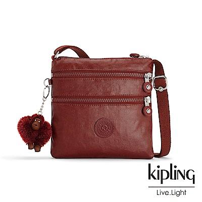Kipling 雅緻紅褐素面收納多夾層側背包-ALVAR S