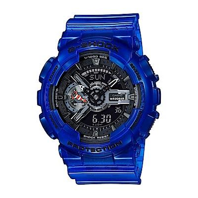 G-SHOCK洋生態設計風格透明果凍色系雙顯運動錶(GA-110CR-2)藍/51.2mm