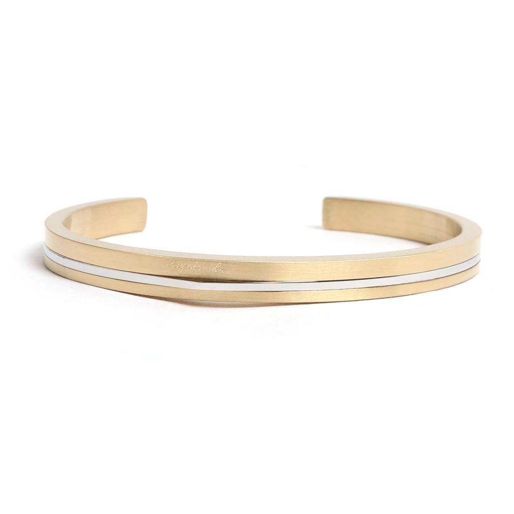 agnes b. 經典雙色C型白鋼女手環(金)(情侶對環)