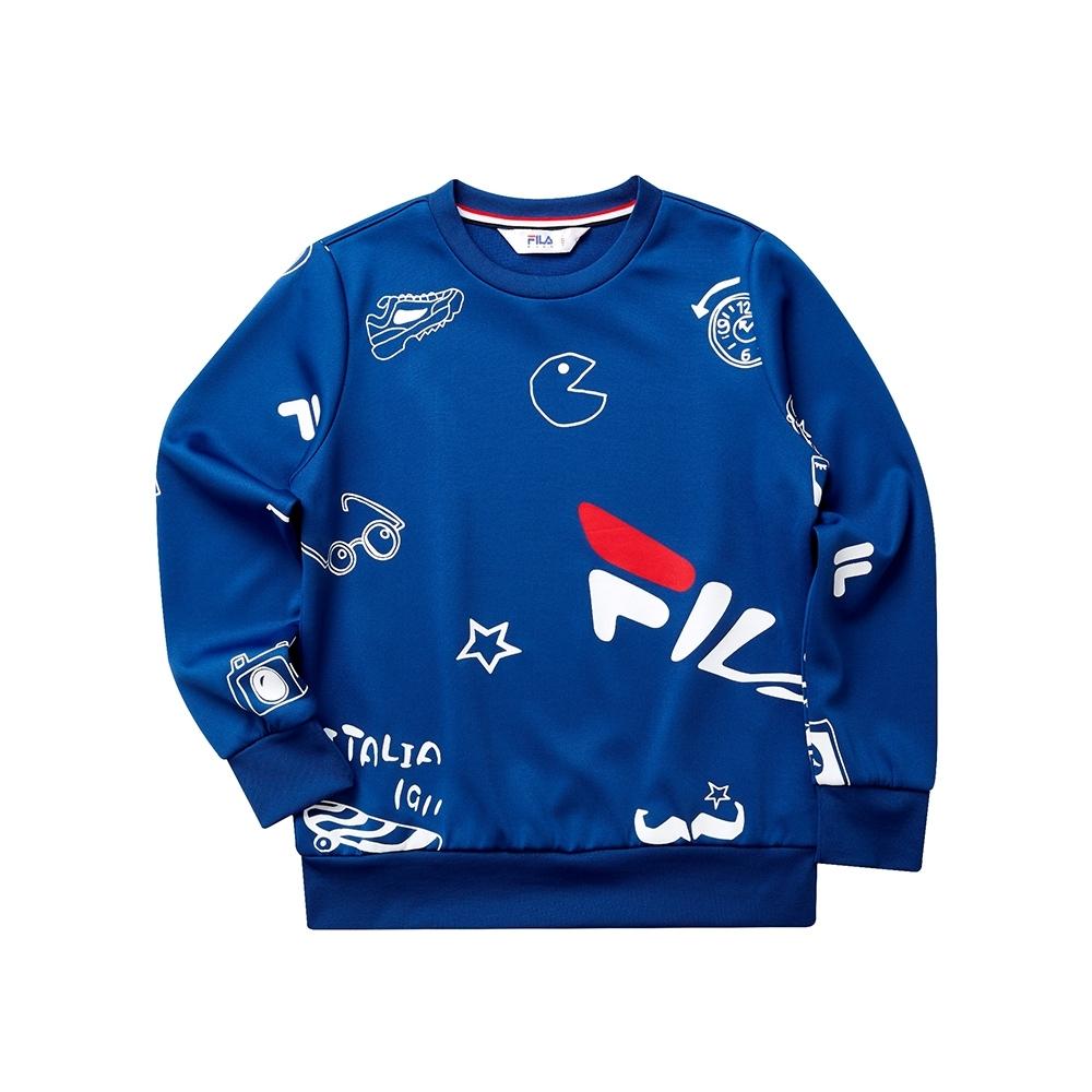 FILA KIDS 童長袖針織圓領T恤-藍色 1TET-8428-BU