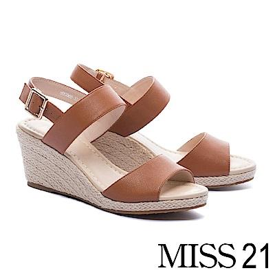 涼鞋 MISS 21 簡約百搭魚口剪裁一字帶羊皮草編楔型涼鞋-咖
