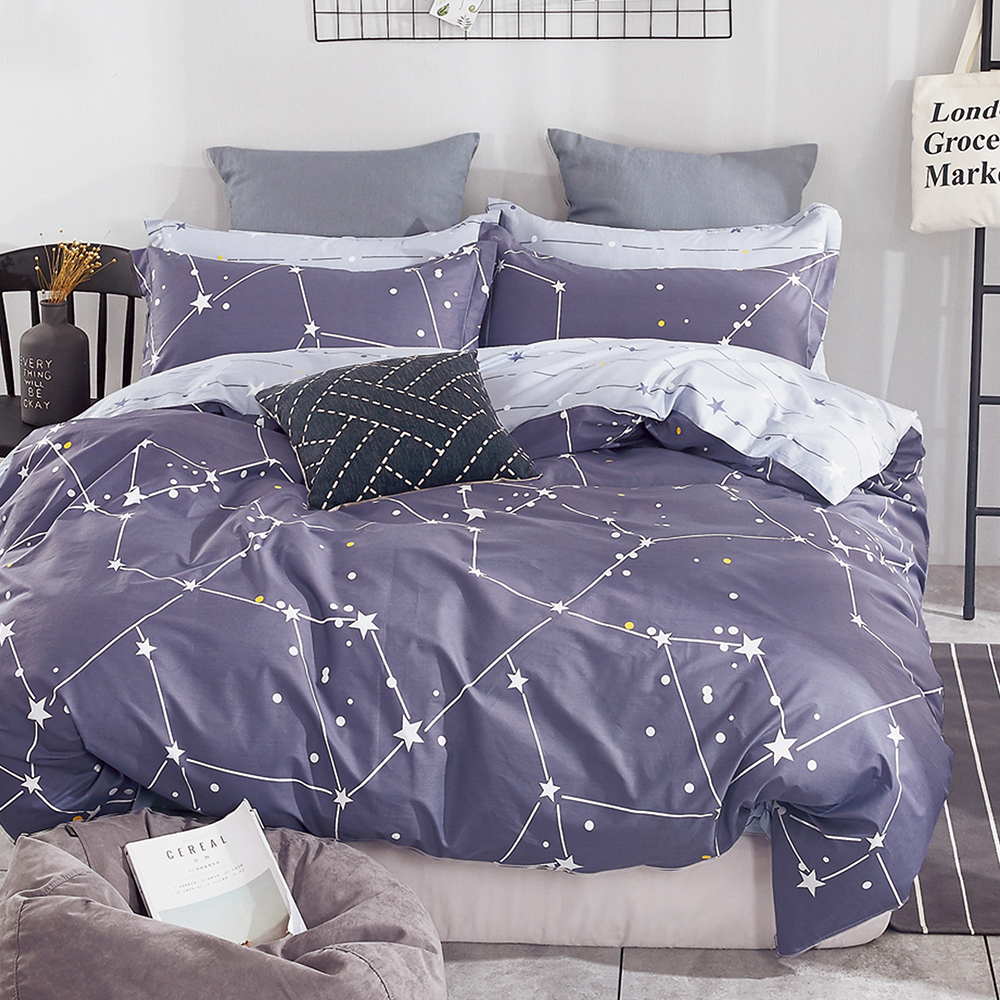 Ania Casa 北極星 雙人三件式 100%精梳棉 台灣製 床包枕套純棉三件組
