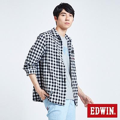 EDWIN搖滾不死英式格紋襯衫-男-白色