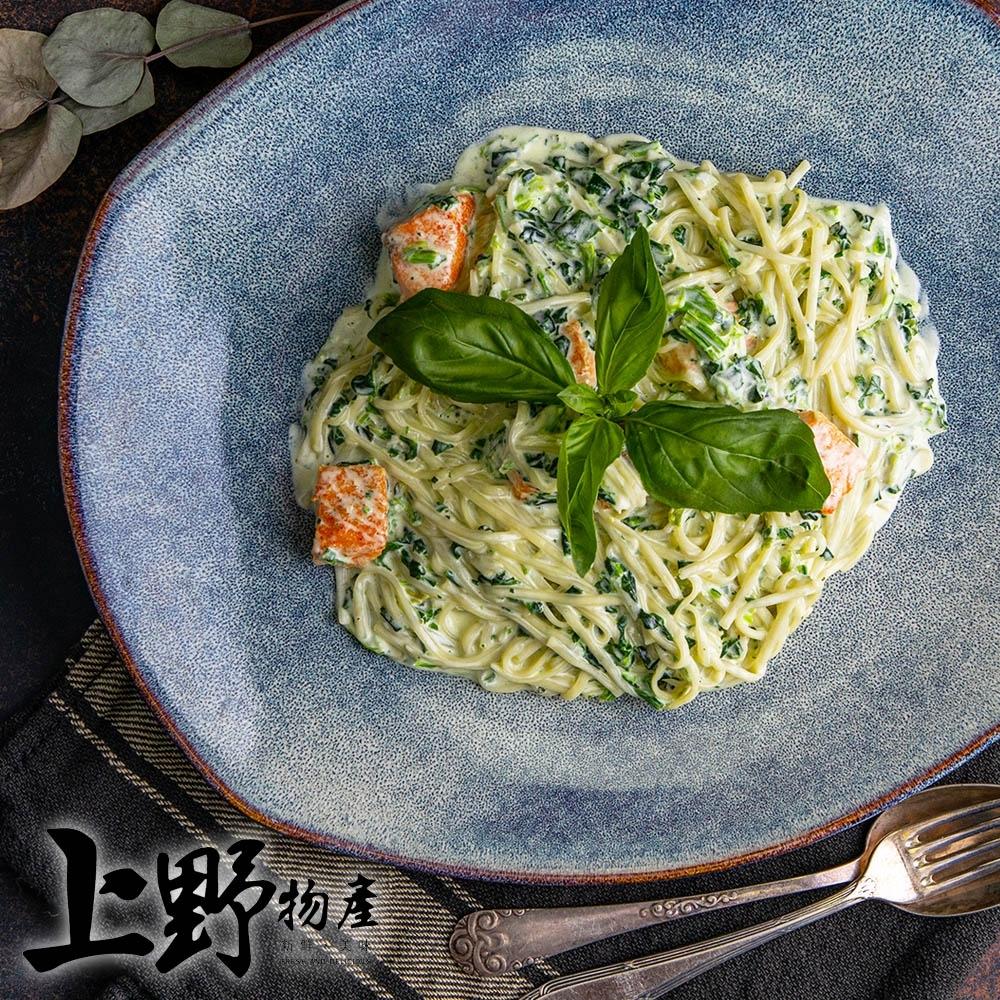 【上野物產】歌德式奶香鮭魚義式圓麵(麵體+醬料包 300g土10%/包) x12包