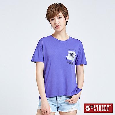 5th STREET 美式印花短袖T恤-女-紫色