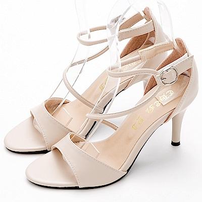 River&Moon涼鞋.線條主義繞踝高跟涼鞋-米