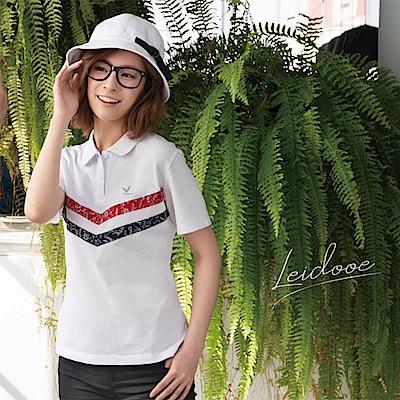 LEIDOOE紅白藍元素休閒女短polol衫16811