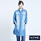 EDO KATSU江戶勝 洋裝式 七分袖牛仔襯衫-女-重漂藍