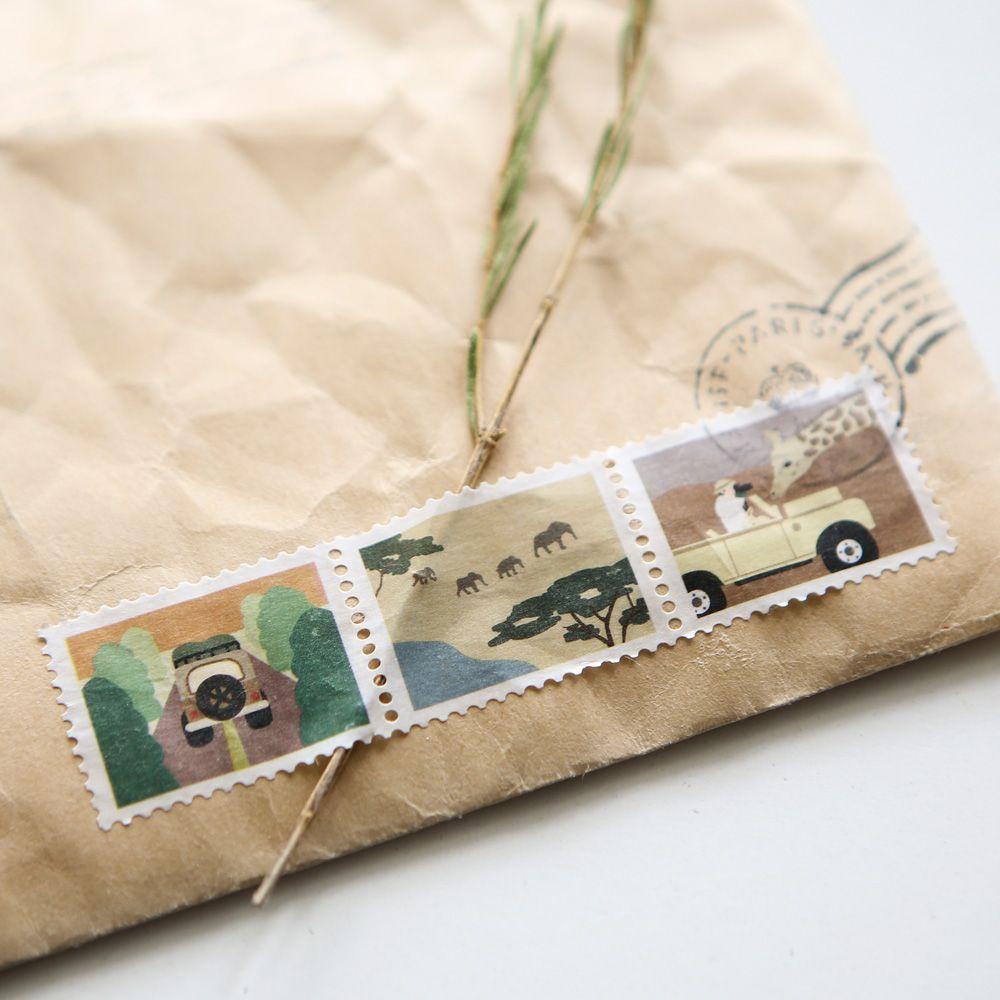 Dailylike 郵票造型紙膠帶(單捲)-09 野生探險隊