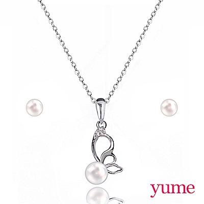 YUME 蝶戀套組 (項鍊+5mm珍珠耳環)