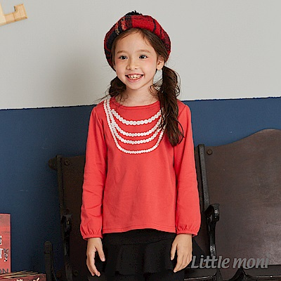 Little moni 項鍊印圖上衣(2色可選)