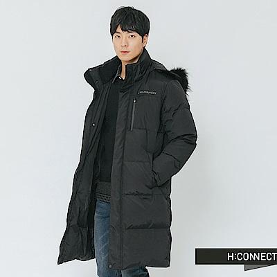 H:CONNECT 韓國品牌 男裝-立領連帽長版羽絨外套-黑