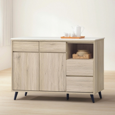 MUNA 寶雅橡木4尺石面餐櫃/碗碟櫃(154) 121X39X76cm