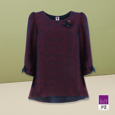 ILEY伊蕾 手工捏花優雅撞色斜紋上衣(紫)