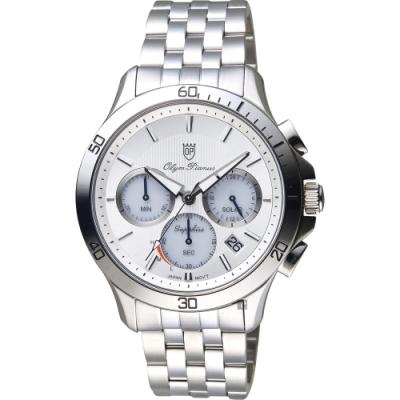 Olympia Star奧林比亞 太陽能計時紳士手錶-銀/42mm