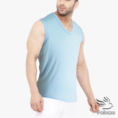 Paloma台灣製極涼感網眼排汗寬肩背心-水藍 背心