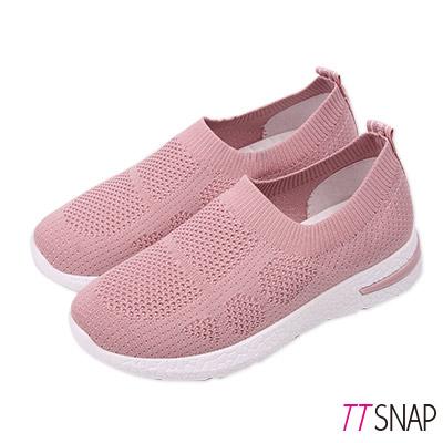 TTSNAP健走鞋-輕量簡約飛梭織面慢跑休閒鞋 粉
