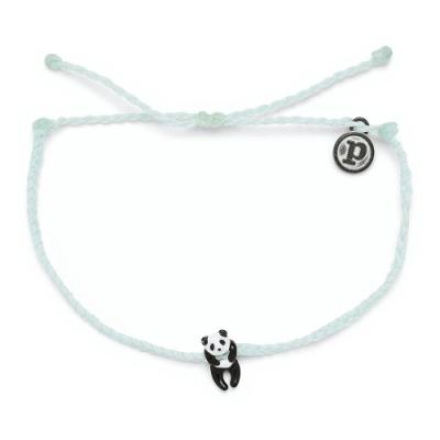 Pura Vida 美國手工 PANDA CHARM 慈善系列 熊貓湖水綠蠟線衝浪手鍊手環