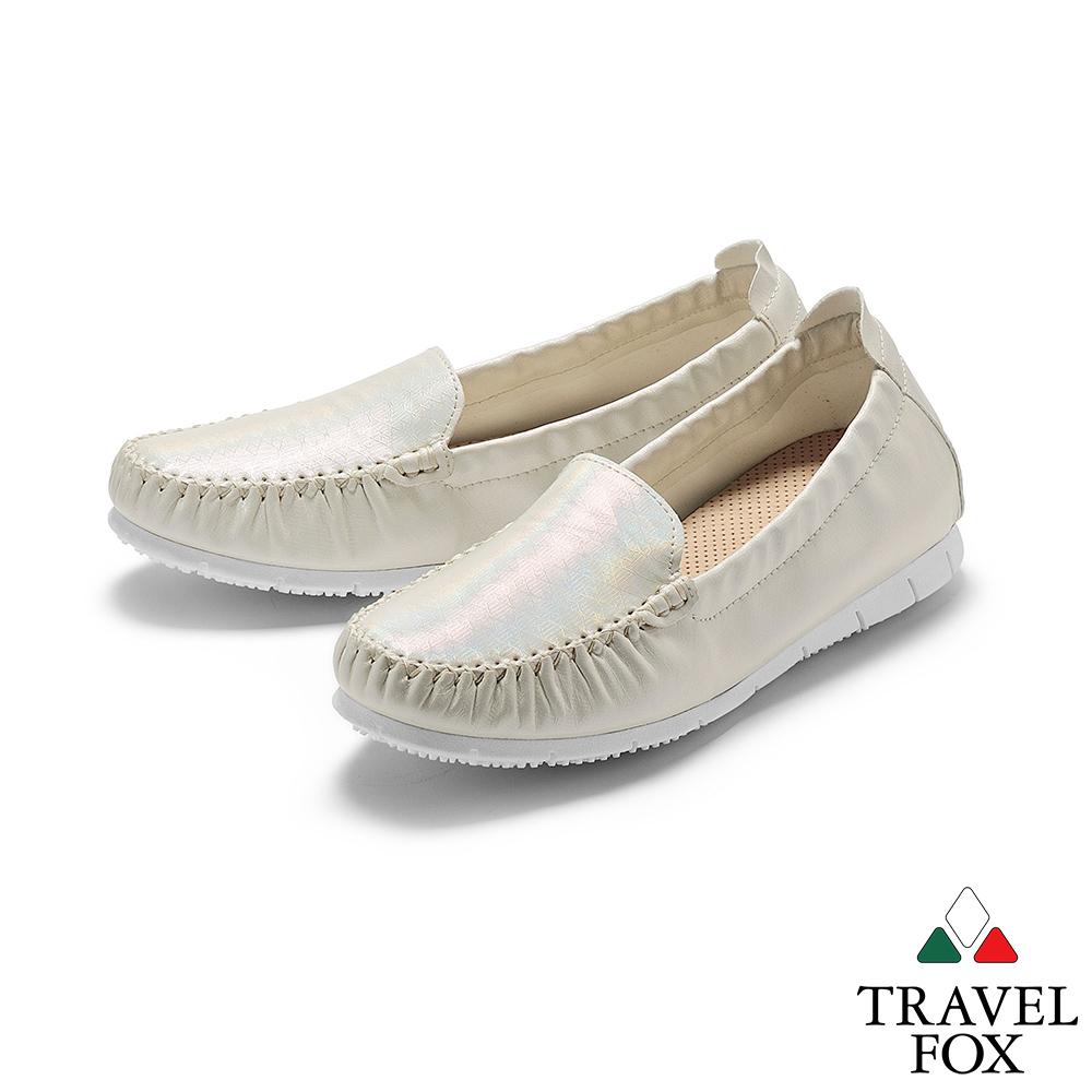 TRAVEL FOX(女) 歐式PENNY鋼琴大底布面舒適休閒懶人鞋 - 珍珠