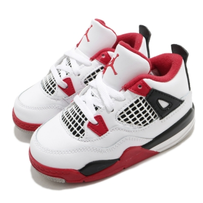 Nike 籃球鞋 Jordan 4 Retro 童鞋 喬丹 四代 經典 復刻 穿搭 小童 白 紅 BQ7670160