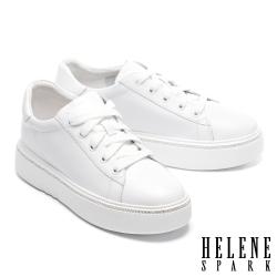 休閒鞋 HELENE SPARK 簡約質感晶鑽綁帶厚底休閒鞋-白