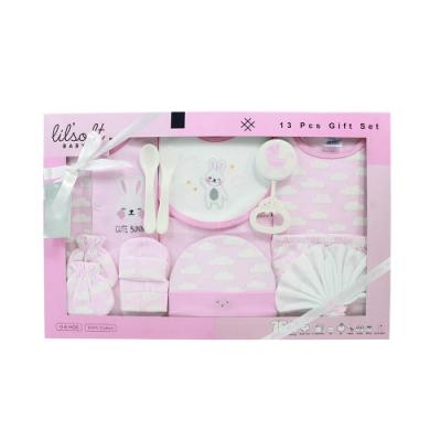 美國Elegant kids-粉色雲朵兔兔13件式彌月禮盒