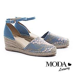 涼鞋 MODA Luxury 華美繡花造型繫帶草編楔型涼鞋-粉藍