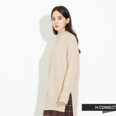 H:CONNECT 韓國品牌 女裝 - 簡約開岔針織上衣  - 杏