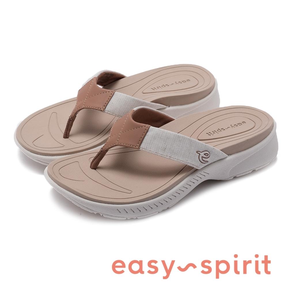 Easy Spirit-seRANDIB-A 拼色流線型彈性束帶夾腳拖鞋-奶茶杏