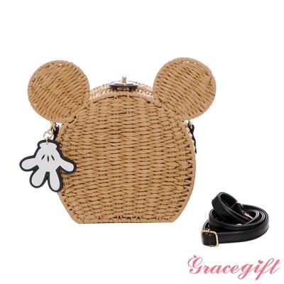 Disney collection by grace gift-迪士尼米奇造型轉釦藤編竹籃包 棕