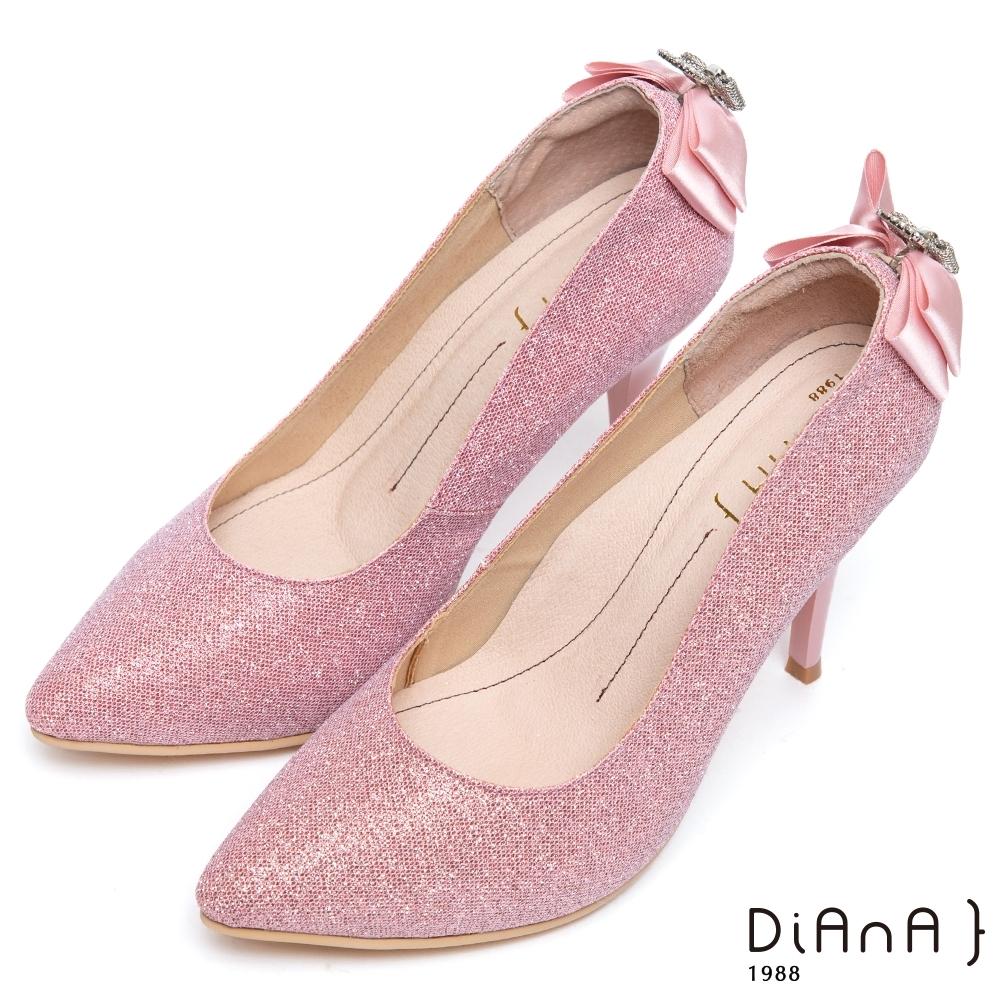 DIANA璀璨星紗後跟垂吊飾水鑽蝴蝶結跟鞋(婚鞋推薦)-注目吸睛-粉